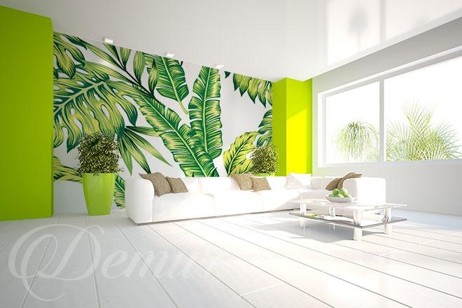 """Fototapeta """"Egzotycznie liściaste"""" - Fototapeta za kanapą"""