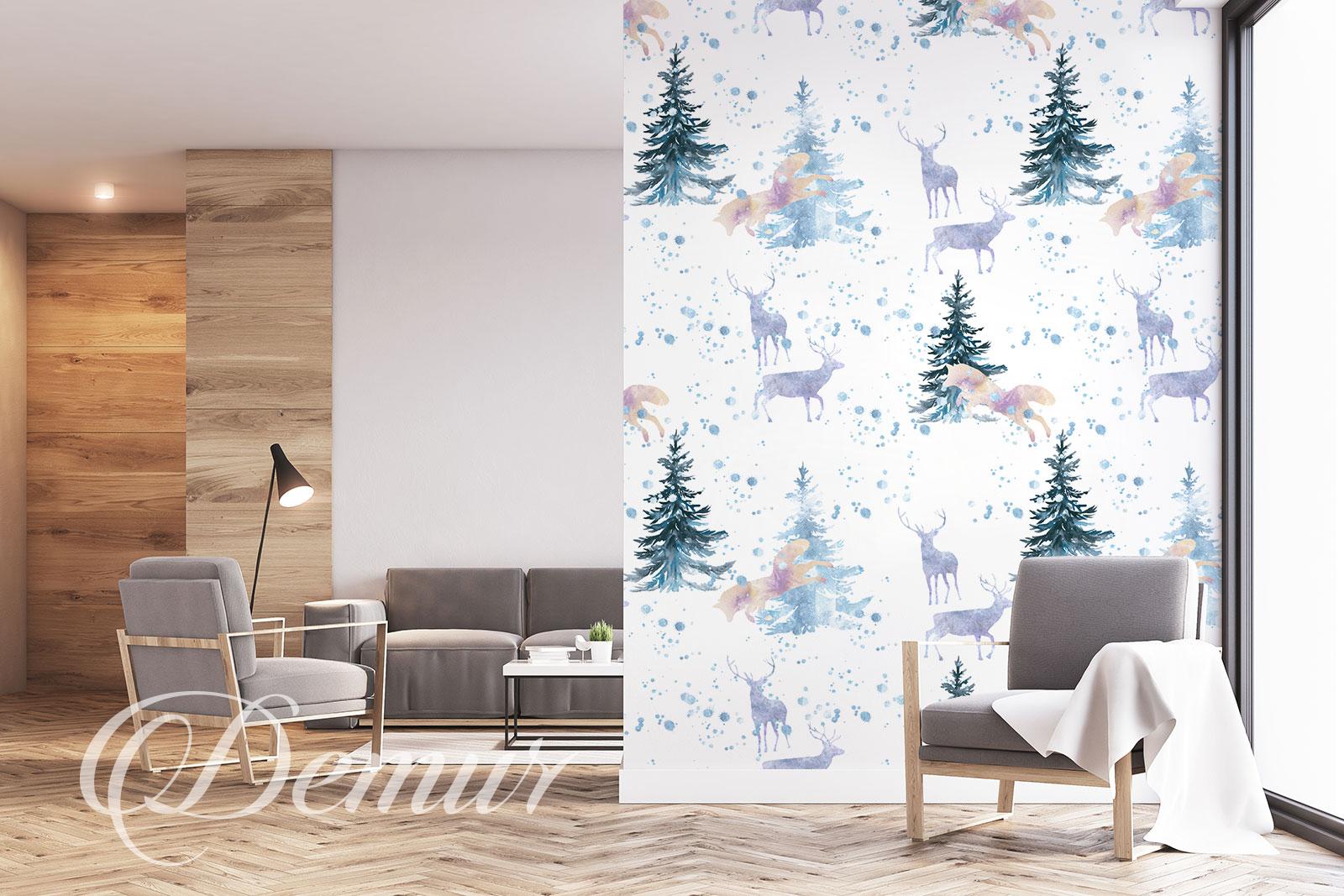 Fototapeta - Skandynawski wzór - Pomysł na ścianę w pokoju - Demur