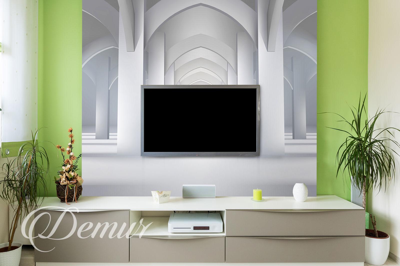 Fototapeta biały pałac - Pomysł na ścianę z telewizorem - Demur