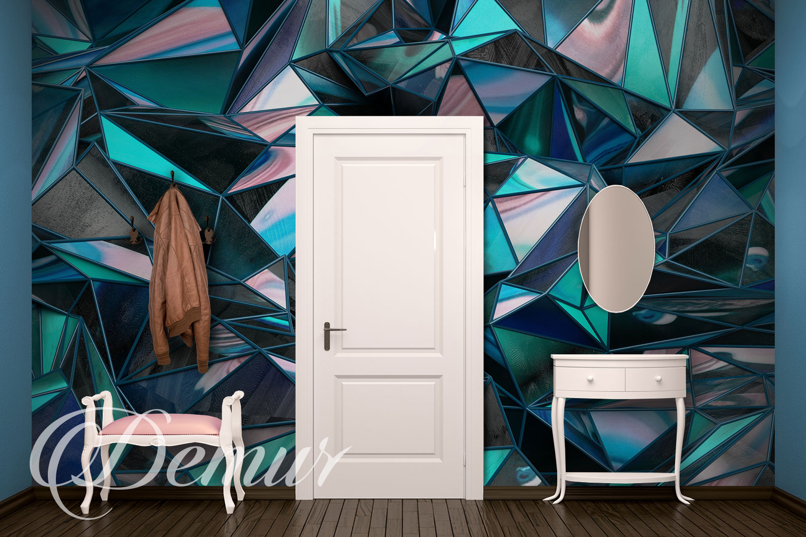 Fototapeta - Kolorowy Kryształ 3D - Pomysł na przedpokój - Demur