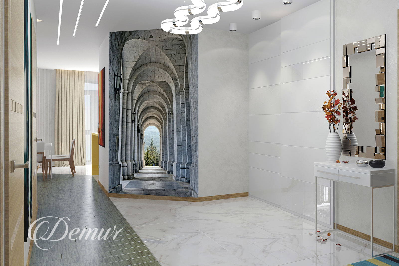 Fototapeta kolumnada - Pomysł na ścianę w korytarzu - Demur