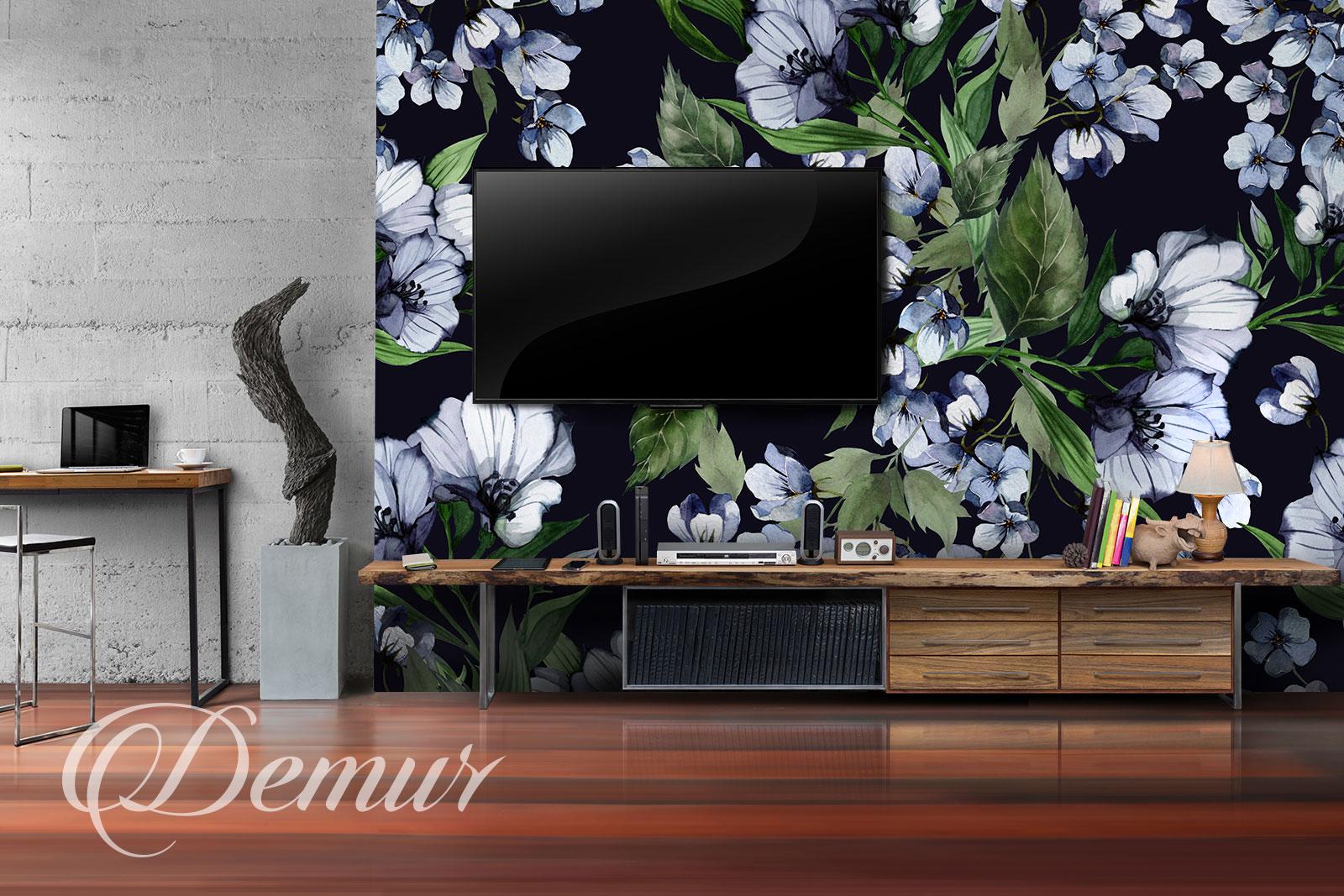 Fototapeta kwiatowy wzór - Pomysł na ścianę z telewizorem - Demur