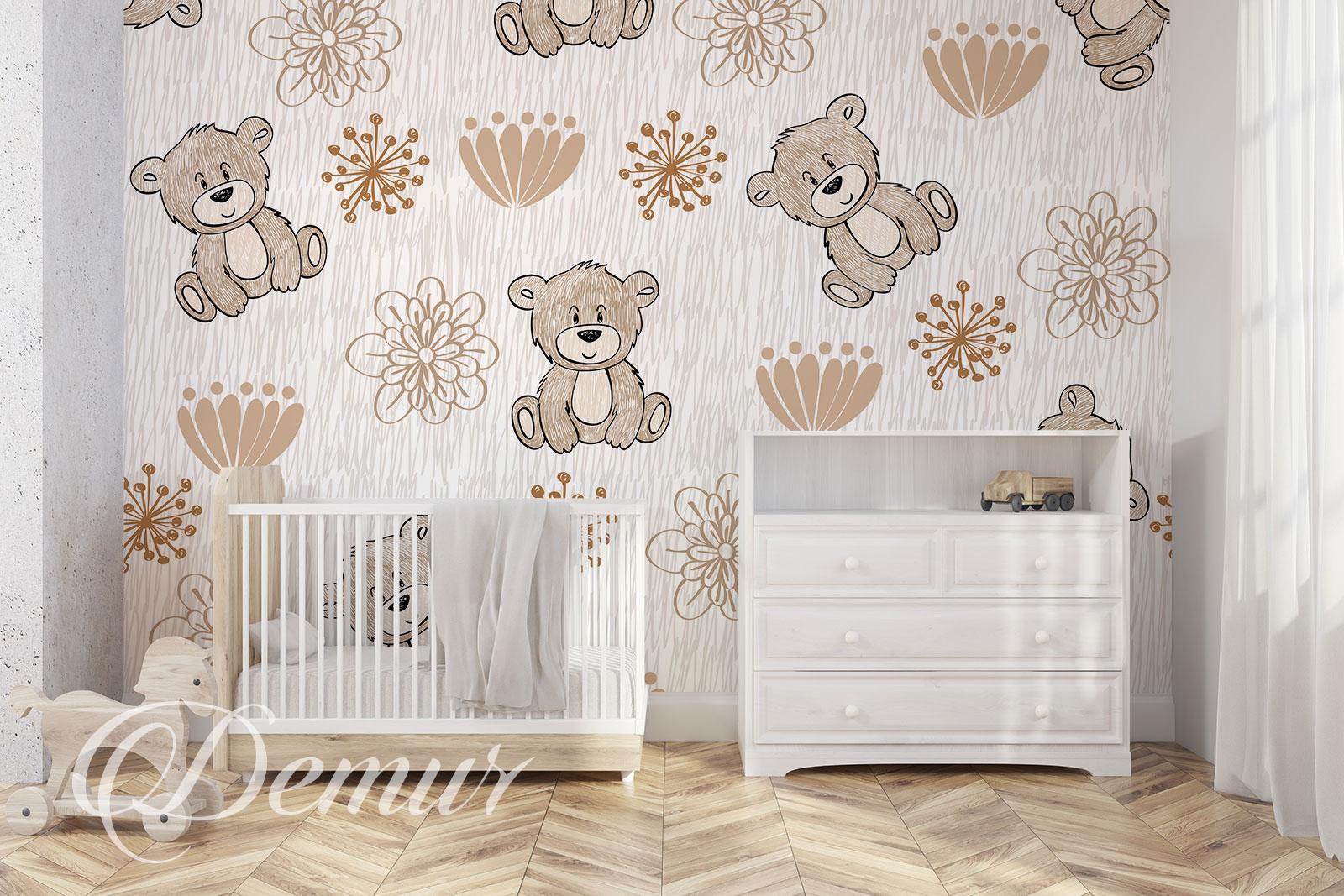 Fototapeta Misie - Pomysł na ścianę w pokoju dziecięcym - Demur