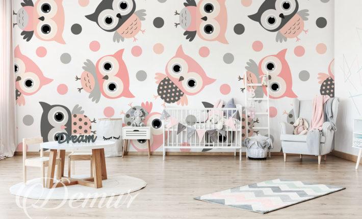 Fototapeta różowe sówki - Pomysł na ścianę w pokoju dziecięcym - Demur