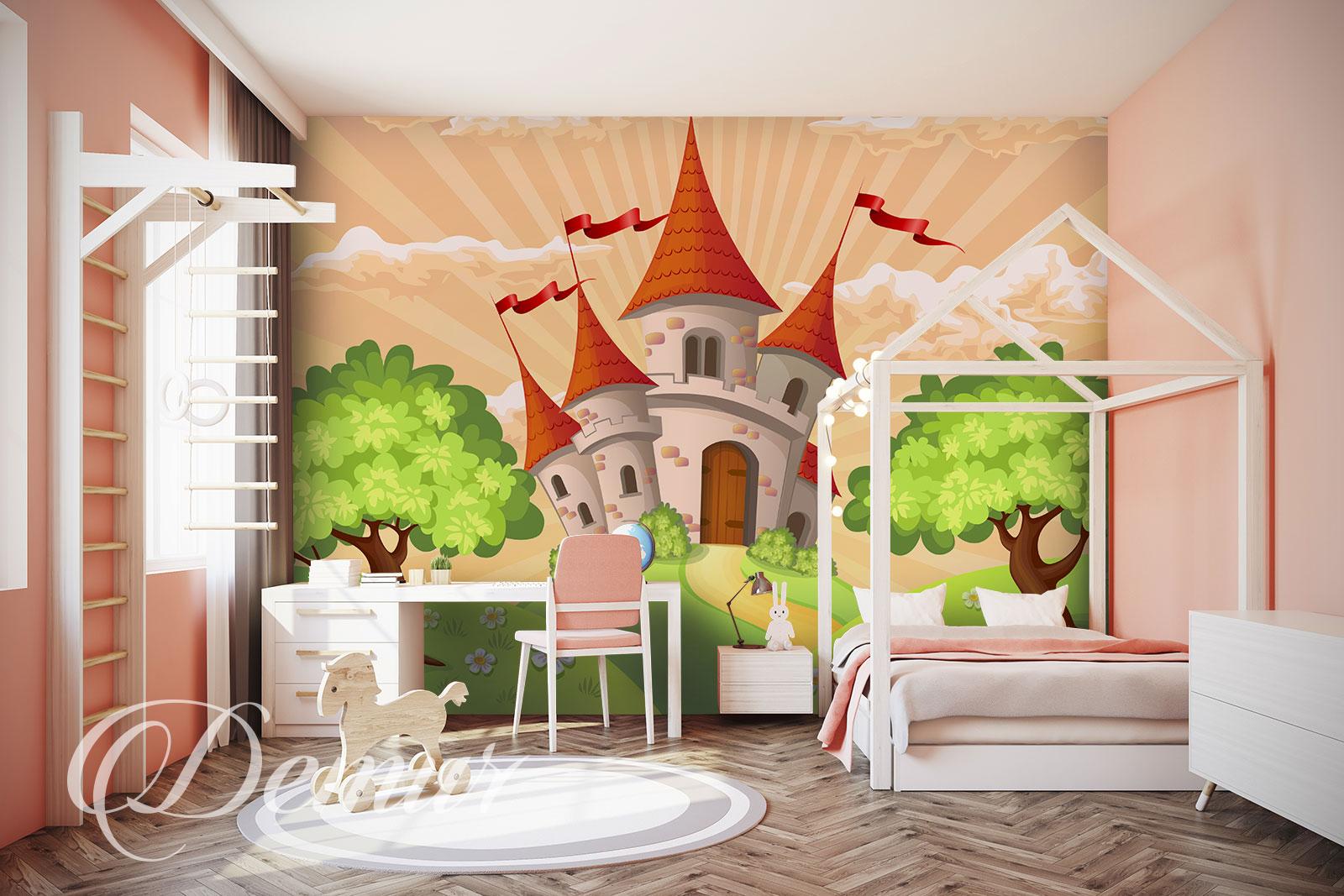 Fototapeta Zamek - Pomysł na ścianę w pokoju dziecięcym - Demur