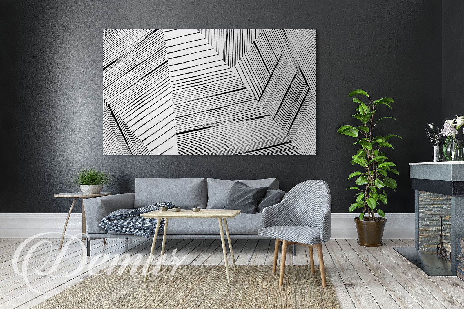 Obraz abstrakcja biało czarna - Jaki obraz do salonu - Demur
