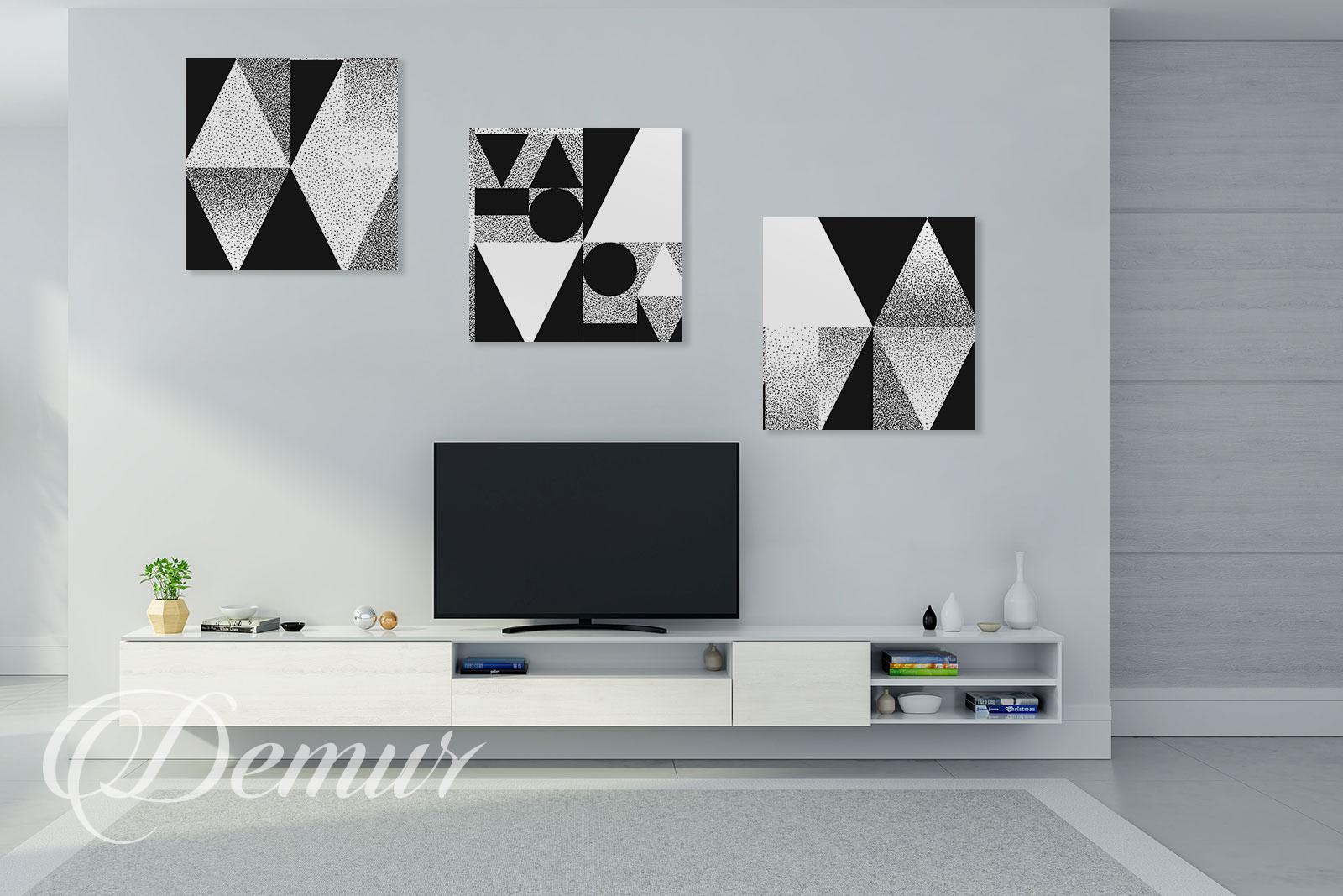 Obraz czarnobiała geometria - Pomysł na ścianę z telewizorem - Demur