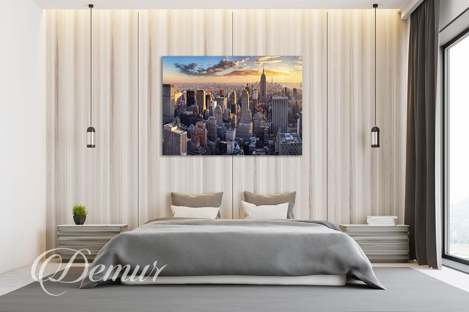 Obraz miasto o zachodzie słońca - Pomysł na ścianę w sypialni - Demur