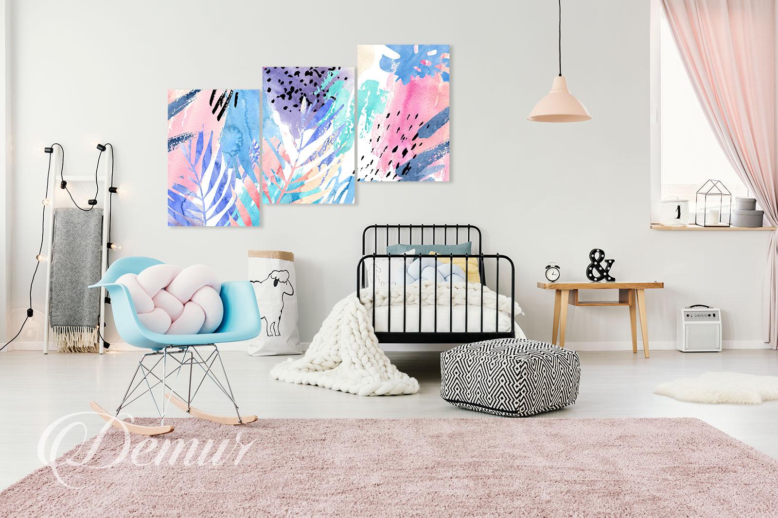 Obraz pastelowa abstrakcja - Aranżacja pokoju nastolatka - Demur