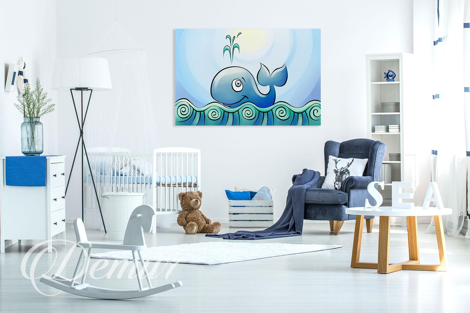 Obraz wesoły wieloryb - Pomysł na ścianę w pokoju dziecięcym - Demur
