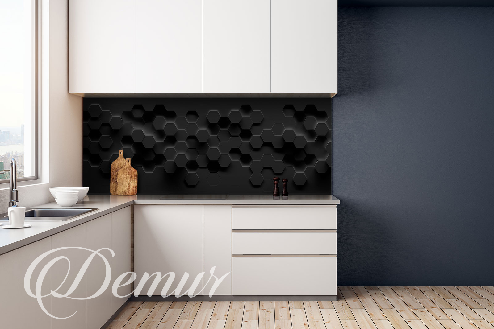 Fototapeta 3D czarna - Fototapety do kuchni pod szafki - Demur