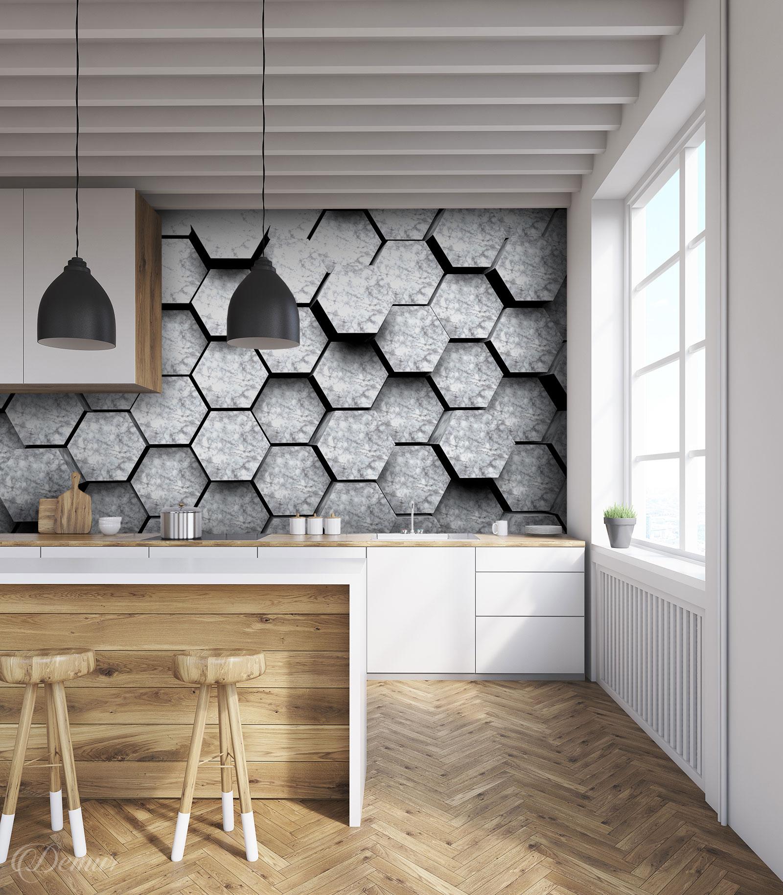 Fototapeta 3D marmurowe bryły - Fototapety do kuchni laminowane - Demur