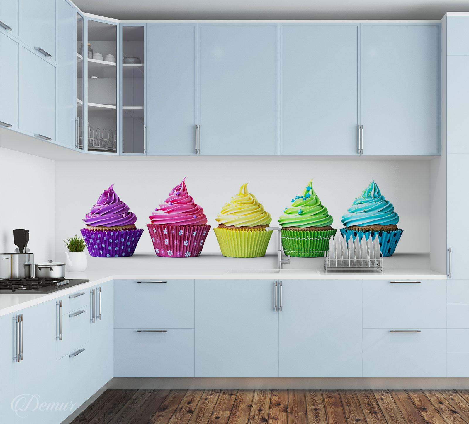 Fototapeta z kolorowymi babeczkami na białym tle - Dostępna na Demur.pl