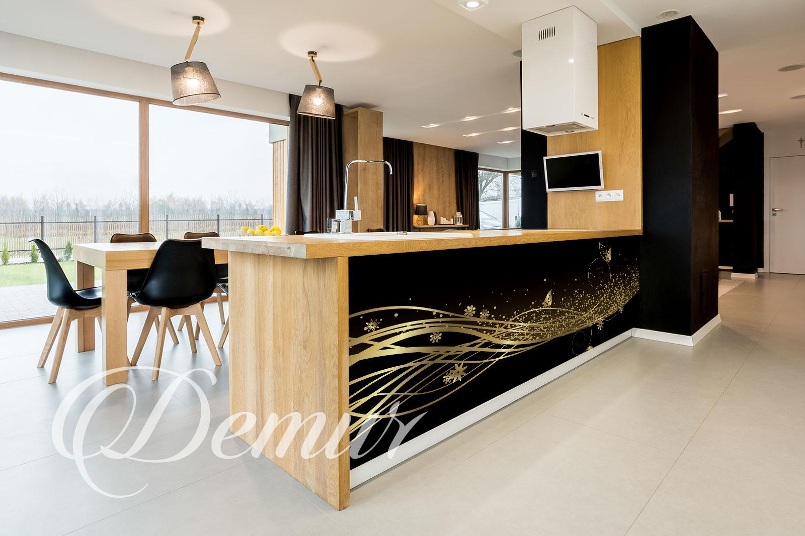 Fototapeta kwiatowy wzór czarno złoty - Fototapety panoramiczne do kuchni - Demur