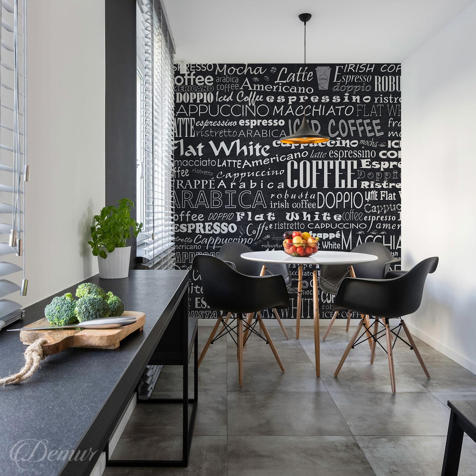 Fototapeta Nazwy Kawy - Pomysł na ścianę z napisami - Demur
