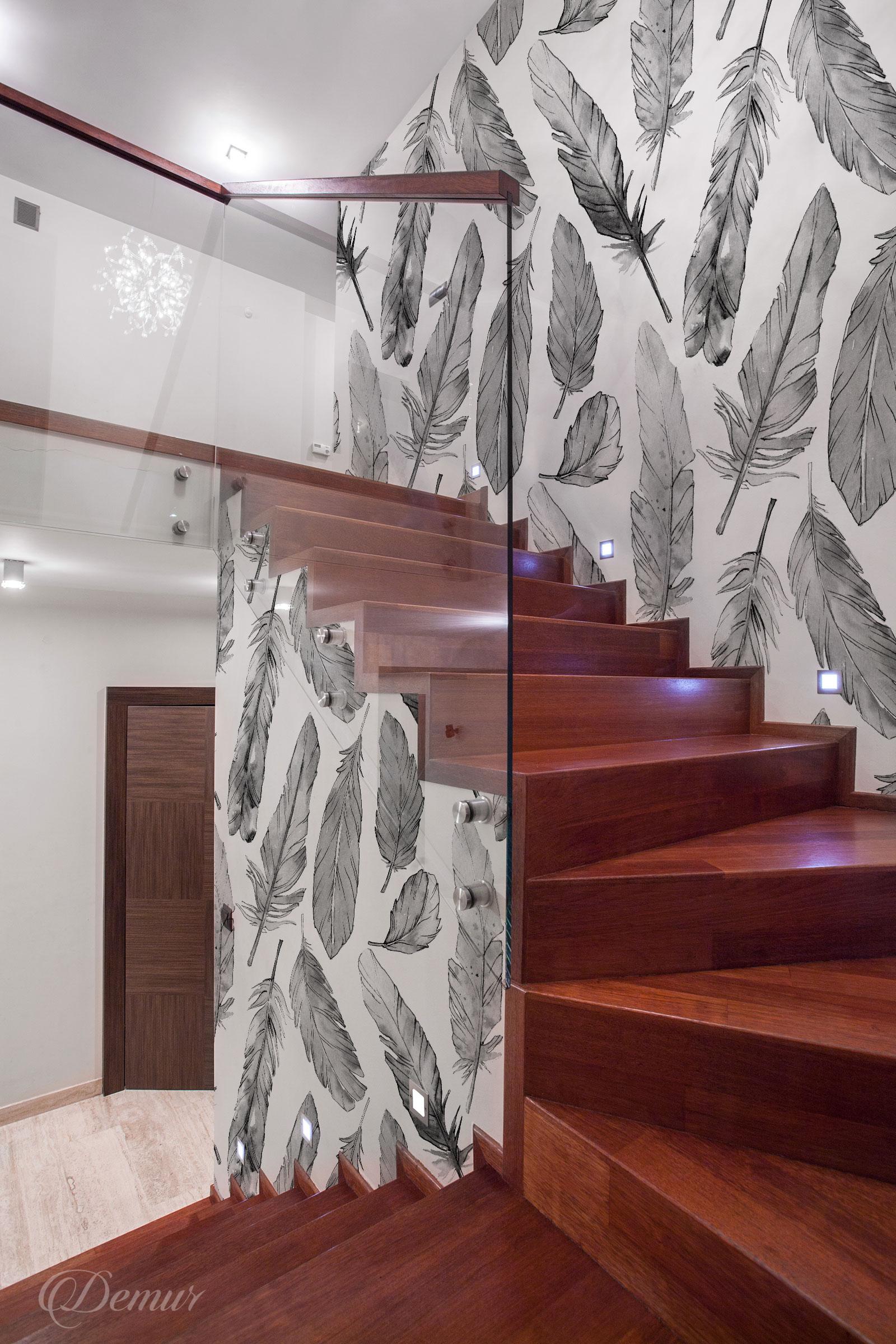 Fototapeta Pióra Boho - Pomysł na ścianę przy schodach - Demur