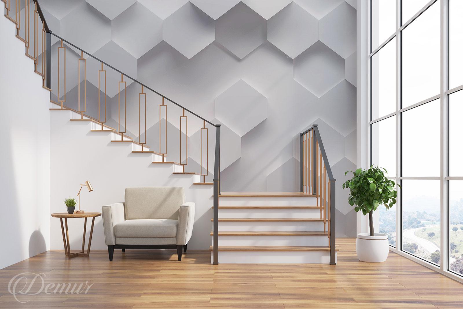 Fototapeta Trójwymiarowe Heksagony - Pomysł na ścianę przy schodach - Demur