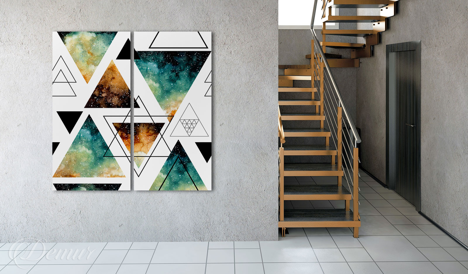 Obraz Galaktyczna Geometria - Pomysł na ścianę przy schodach - Demur
