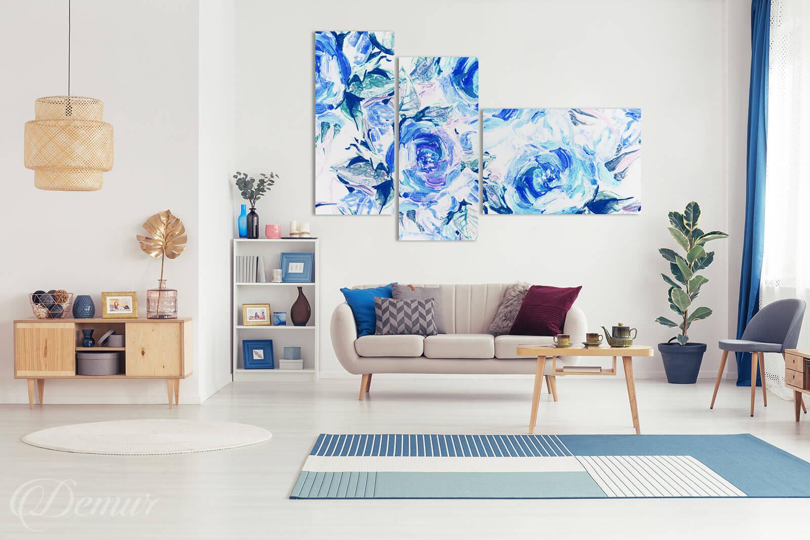 Obraz Błękitne Róże - Obrazy tryptyki do salonu - Demur