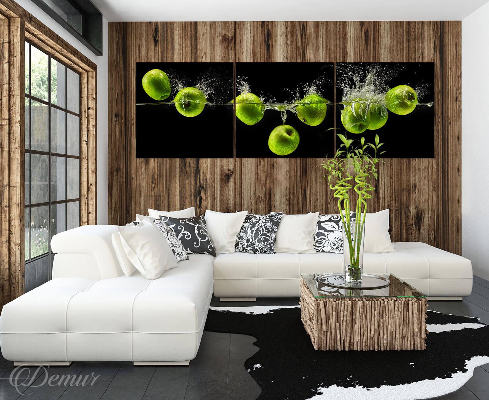 Obraz Jabłkowa zieleń - Obrazy Tryptyki do salonu - Demur