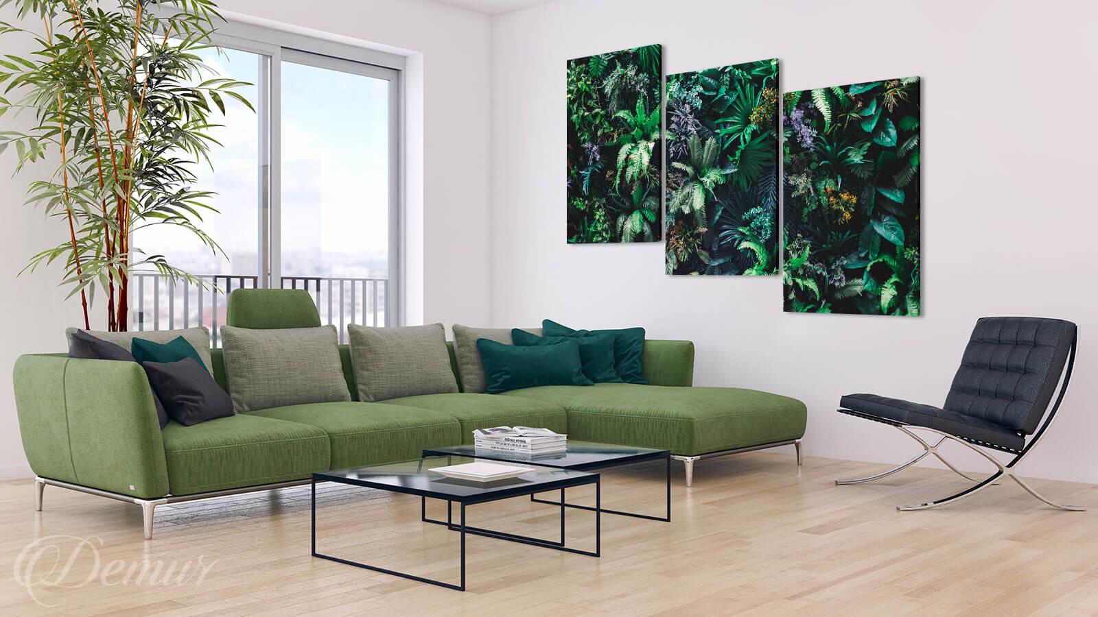 Obraz Tropikalna Flora - Obrazy Tryptyki do salonu - Demur