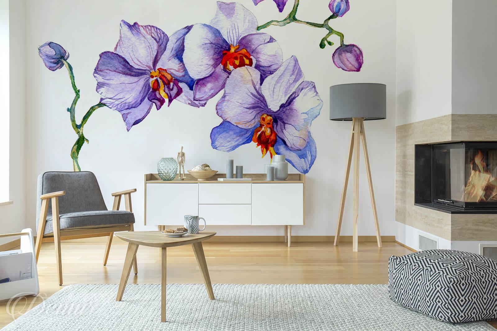 Fototapeta Akwarelowa Orchidea - Fototapeta fioletowa - Demur