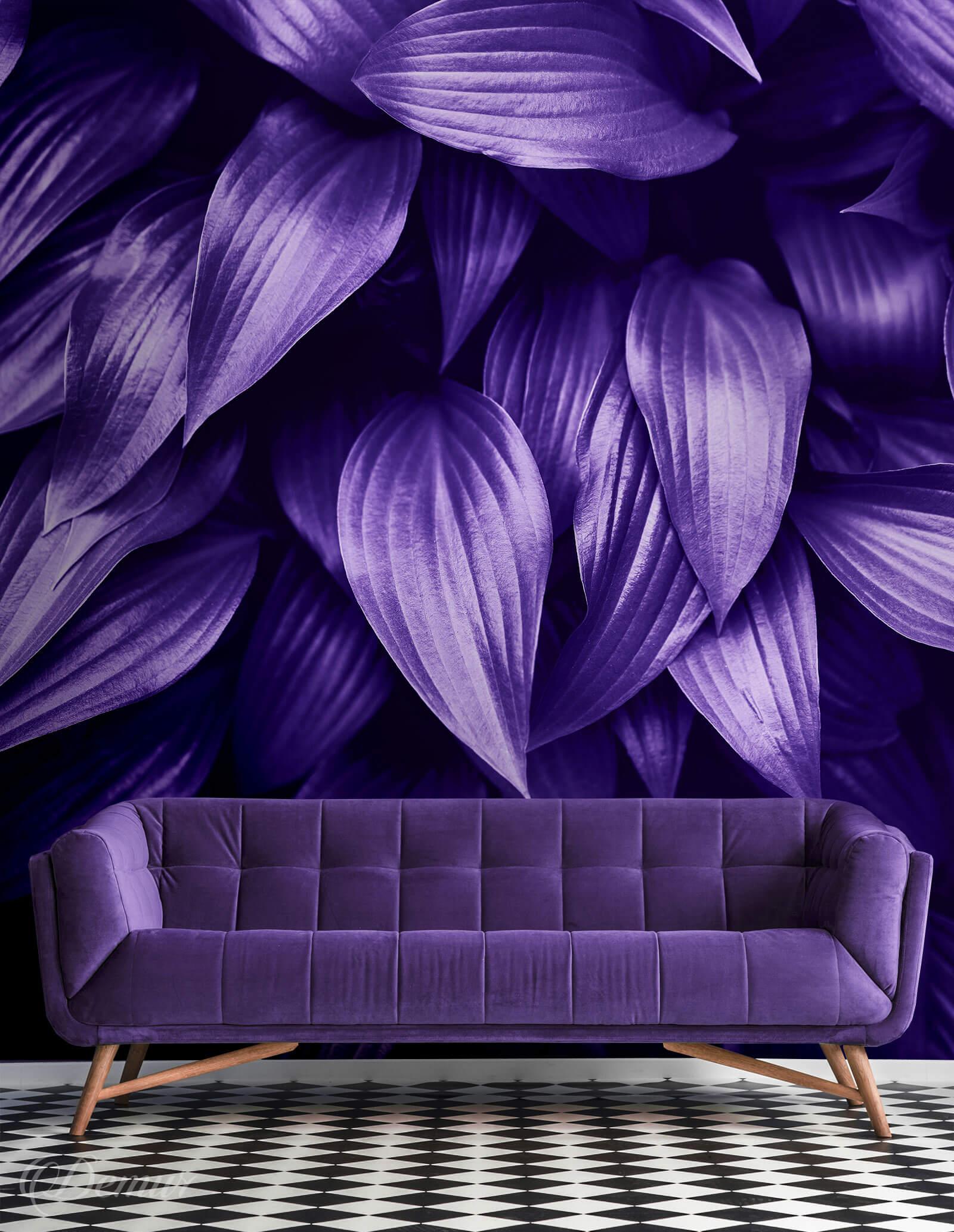 Fototapeta Liście w ultrafiolecie - Fototapeta fioletowa - Demur