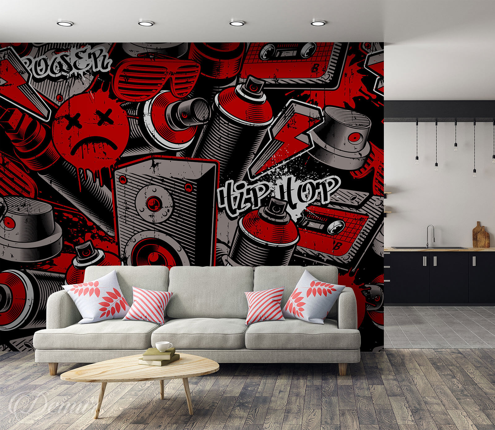 Fototapeta Czerwone Graffiti - Fototapeta graffiti - Demur