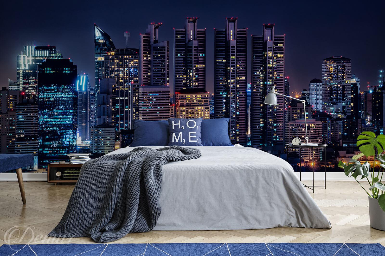 Fototapeta Nocne miasto - Fototapeta w sypialni - Demur