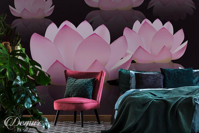 Fototapeta Wektorowe kwiaty lotosu - Relaksujące fototapety - Demur