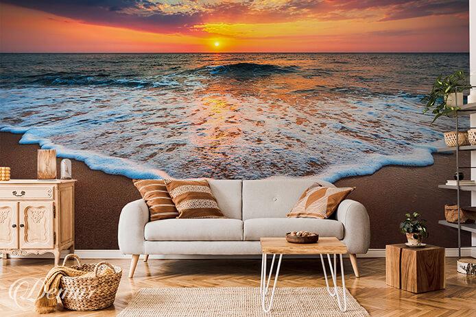 Fototapeta Zachód słońca nad morzem - Fototapeta z pejzażem - Demur