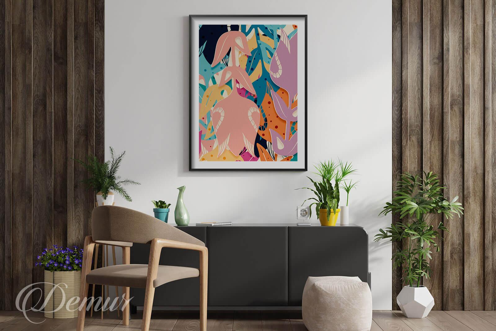Plakat Kolorowe kwiaty - Plakaty w ramie - Demur
