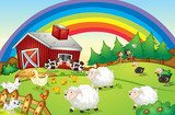 A farm with many animals and a rainbow in the sky  Fototapety do Przedszkola Fototapeta