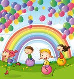 Kids playing with floating balloons and rainbow in the sky  Fototapety do Przedszkola Fototapeta