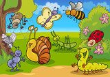 cartoon insects on the meadow  Fototapety do Przedszkola Fototapeta