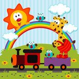 Giraffe travels by train  - vector illustration  Fototapety do Przedszkola Fototapeta