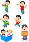 Happy school children cartoon collection set  Fototapety do Przedszkola Fototapeta