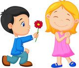 Little boy kneels on one knee giving flowers to girl  Fototapety do Przedszkola Fototapeta