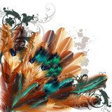 Beautiful vector background with colorful ferns  Zwierzęta Fototapeta