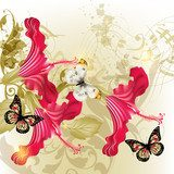 Floral vector background  with hibiscus   flowers  Motyle Fototapeta