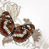 Vector background with butterfly  Motyle Fototapeta