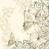 Hand drawn floral background for design  Motyle Fototapeta