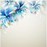 Tender background with blue abstract flowers in the corner  Draw Flower Fototapeta