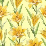 Vintage seamless pattern with lily flowers  Draw Flower Fototapeta