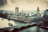 London, the UK. Big Ben, the Palace of Westminster. Vintage  Miasta Obraz