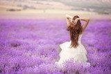 Bride in wedding day in lavender field  Ludzie Obraz