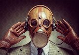 Vintage gas mask and headphones  Ludzie Obraz