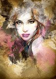 Beautiful woman face. watercolor illustration  Ludzie Obraz