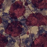 Seamless texture, red poppies.  Tekstury Fototapeta