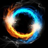Fire and Ice, a round sign on a black background  Abstrakcja Fototapeta